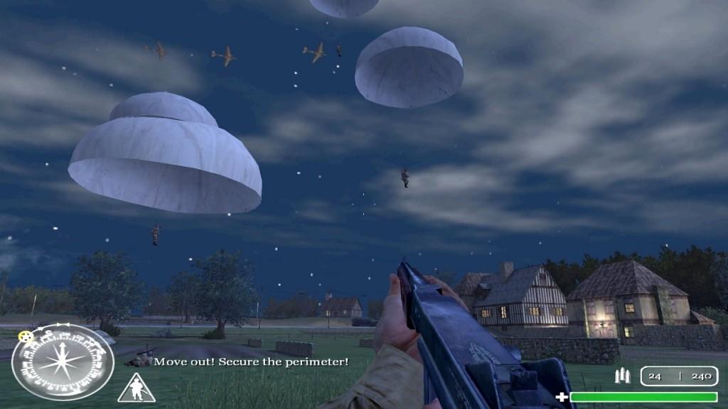 Als unser Nachschub eintrifft, regnet es Fallschirme. Gekonnt rollen sich meine Airborne-Kameraden auf dem Boden ab.