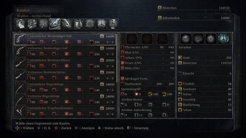 Bloodborne Unheimliche und Verlorene Waffen